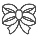 De lijnpictogram van de lintboog Het dubbel knoopte boog vectorillustratie die op wit wordt geïsoleerd Het gebonden de stijlontwe royalty-vrije illustratie