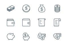 De lijnpictogrammen van e-commercefinanciën op witte achtergrond worden geplaatst die royalty-vrije stock afbeelding