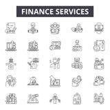 De lijnpictogrammen van de financiëndiensten voor Web en mobiel ontwerp De tekens van de Editableslag Het overzichtsconcept van d stock illustratie