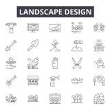De lijnpictogrammen van het landschapsontwerp, tekens, vectorreeks, het concept van de overzichtsillustratie stock illustratie