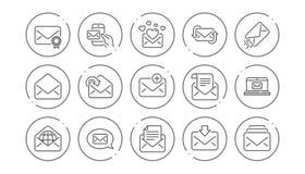 De lijnpictogrammen van het postbericht Bulletin, E-mail, Correspondentie Lineaire Pictogramreeks Vector stock illustratie