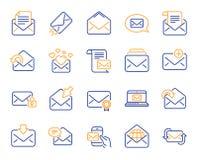 De lijnpictogrammen van het postbericht Reeks van Bulletin, E-mail, Correspondentie Vector royalty-vrije illustratie