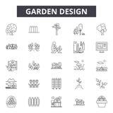 De lijnpictogrammen van het tuinontwerp voor Web en mobiel ontwerp De tekens van de Editableslag De illustraties van het het over vector illustratie
