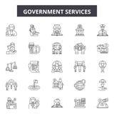 De lijnpictogrammen van de overheidsdiensten, tekens, vectorreeks, het concept van de overzichtsillustratie stock illustratie