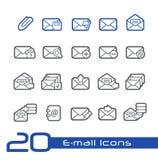 De Lijnreeks van e-mailpictogrammen// Royalty-vrije Stock Foto's