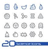 De Lijnreeks van //van wetenschapspictogrammen Stock Afbeeldingen