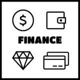 De lijnstijl van financiënpictogrammen Stock Foto