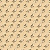 De lijnstijl van het croissant naadloze patroon op bruine achtergrond Stock Afbeelding