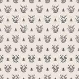 De lijnstijl van het herten naadloze patroon op witte achtergrond voor productbevordering Stock Afbeeldingen