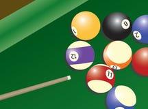 De lijst en de ballen van de pool Stock Illustratie