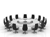 De lijst en de stoelen van de conferentie Stock Illustratie