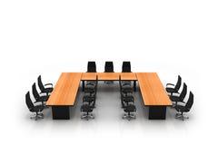 De lijst en de stoelen van de conferentie Stock Afbeeldingen