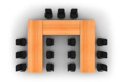 De lijst en de stoelen van de conferentie Stock Foto