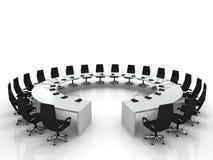 De lijst en de stoelen van de conferentie met microfoons Stock Afbeeldingen