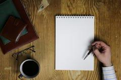 De lijst schrijft de mening van het handbureau Royalty-vrije Stock Fotografie