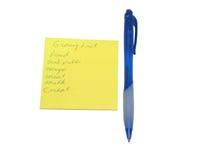 De lijst van de kruidenierswinkel Royalty-vrije Stock Foto
