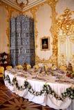 De lijst van het banket in dineren-zaal Stock Afbeeldingen