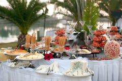 De lijst van het buffet met zeevruchten Stock Afbeelding