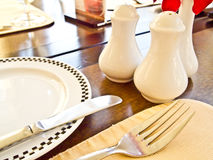 De lijst van het diner in een fijn restaurant Stock Afbeeldingen
