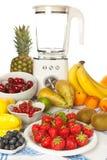 De lijst van het fruit met mixer stock fotografie