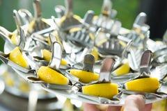 De Lijst van de het Huwelijksgebeurtenis van het cateringsvoedsel Buffetlijn in Huwelijk Heerlijk voorgerechtclose-up royalty-vrije stock foto