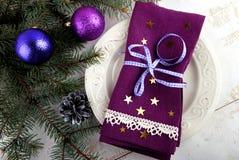 De Lijst van het Kerstmisdiner het Plaatsen Stock Afbeeldingen