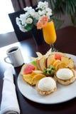 De lijst van het ontbijt bij hotel Royalty-vrije Stock Foto's