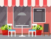 De Lijst van het restaurantmenu in openlucht, Buitenkant van Opslag vector illustratie