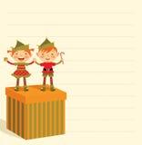 De lijst van Kerstmis van giften en elf stock illustratie