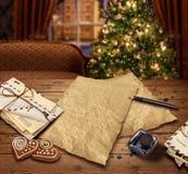 De lijstbrief van de Kerstmiswens aan Kerstman Royalty-vrije Stock Fotografie