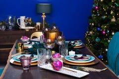 De lijstdecoratie van de Kerstmiseetkamer Royalty-vrije Stock Fotografie
