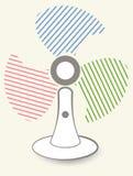 De lijstventilator op een grijze achtergrond met kleurenschroeven Stock Afbeeldingen