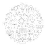 De lineaire geplaatste pictogrammen van de de zomertijd Royalty-vrije Stock Afbeeldingen
