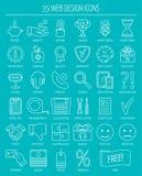 De lineaire pictogrammen van het Webontwerp Lijnpictogrammen voor zaken, Webontwikkeling en landende pagina Vlak Ontwerp Vector Stock Afbeeldingen