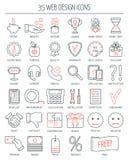 De lineaire pictogrammen van het Webontwerp Moderne lijnpictogrammen voor zaken, Webontwikkeling en landende pagina Vlak Ontwerp  Stock Foto