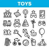 De Lineaire Vector Dunne Geplaatste Pictogrammen van het kinderenspeelgoed vector illustratie