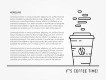 De lineaire vectorillustratie van de koffietijd met steekproeftekst Stock Afbeelding
