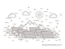 De lineaire vectorillustratie van de zon elektrische post stock illustratie