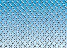 De link van de ketting omheining met blauwe hemelachtergrond Royalty-vrije Stock Foto
