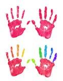 De linker en juiste de jonge geitjes rode kleur en regenboog handprint plaatsen op witte achtergrond geïsoleerd vector illustratie
