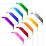 De linten van de hoek in diverse kleuren Stock Foto's