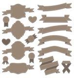 De linten van het groepsleer, uitstekende etiketten, geometrische emblemen Stock Afbeelding