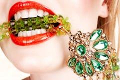 De lippen van de vrouw met halsband Stock Fotografie