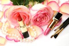 De lippenstift en nam toe Royalty-vrije Stock Foto's