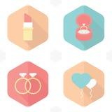 De lippenstift van huwelijkssymbolen, ringen, giften, ballons, Hart Royalty-vrije Stock Foto's