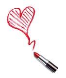 De lippenstiftschoonheid maakt omhoog hartliefde Stock Foto