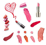 De lippenstiftschoonheid maakt omhoog hartliefde Stock Afbeelding