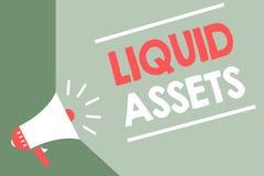 De Liquide middelen van de handschrifttekst Concept die Contant geld en van de Banksaldo'smarkt de Vloeibaarheid Uitgestelde groe vector illustratie