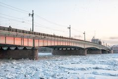 De Liteyny-Brug over Neva River St. Petersburg Rusland Royalty-vrije Stock Foto