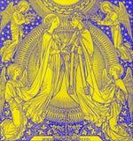 De lithografie van Kroning van Maagdelijke Mary door onbekende kunstenaar met de initialen F M S 1885 royalty-vrije stock foto's
